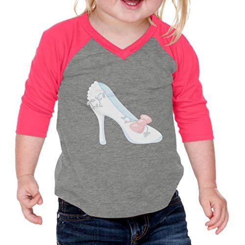 Cute Rascals Bride High Heels Cotton/Polyester 3/4 Sleeve V-Neck Boys-Girls Infant Raglan T-Shirt Baseball Jersey - Gray Hot Pink, 18 Months