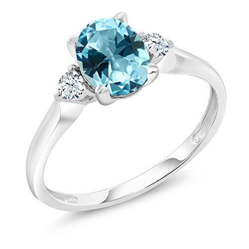 10K White Gold Ring Created Sapphire Set with Ice Blue Topaz from Swarvoski (10k Jewelry Set)