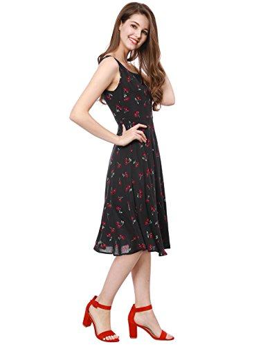 K Allegra Impression De Cerise Swing Manches Années 1950 Femmes Midi Flare Robe Vintage Noir
