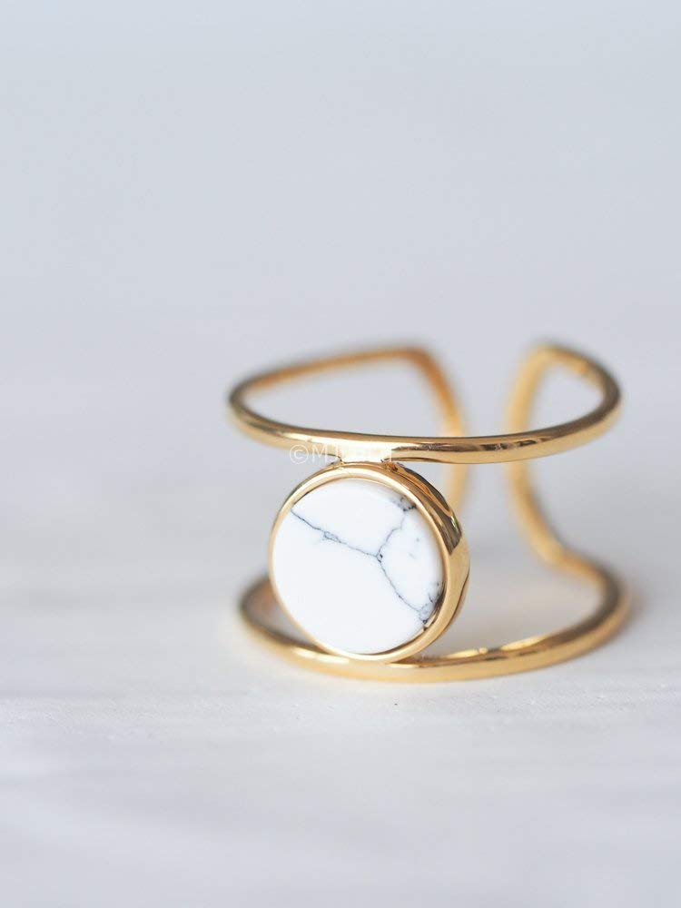 Coin White Simulated Howlite Geometric Stone Double Line Simple Ring