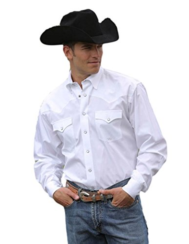 Miller Ranch Western Shirt Mens Long Sleeve Woven M White ()