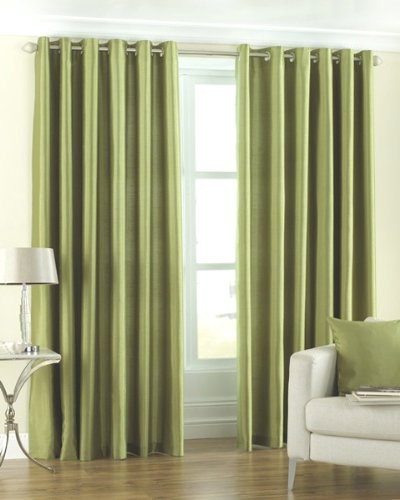 HFI Royal Modern 2 Piece Eyelet Polyester Long Door Curtain Set - 9ft, Green Curtains at amazon