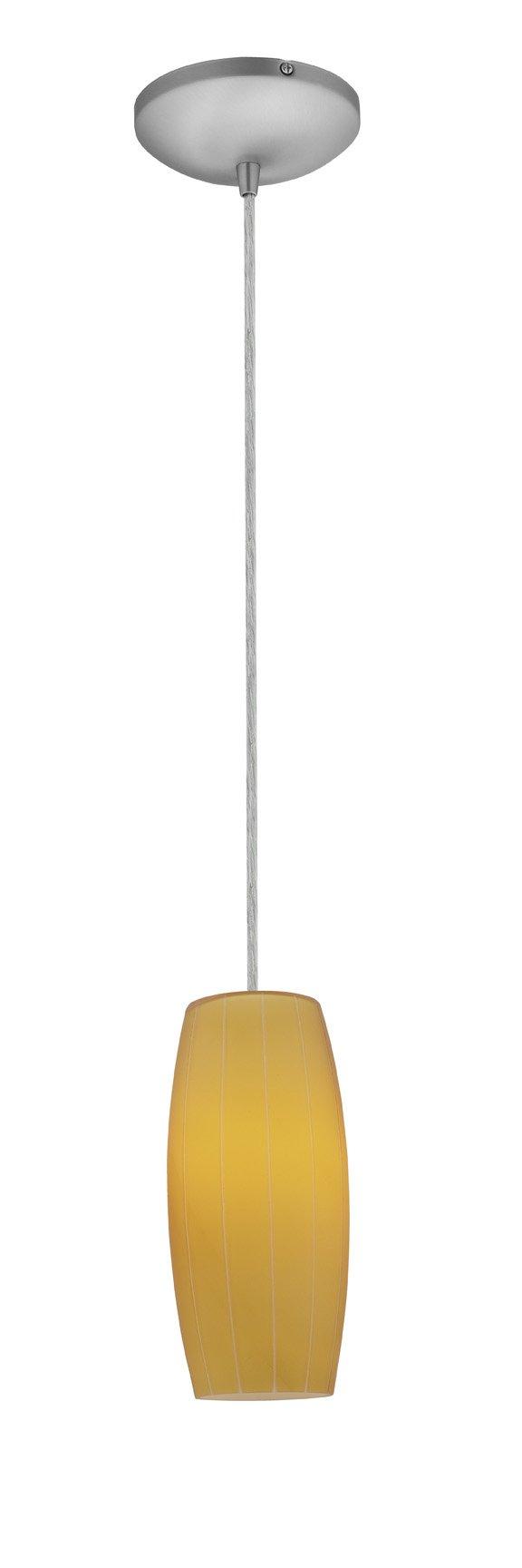 Cognac Glass Pendant - 1-Light Pendant - Cord - Brushed Steel Finish - Amber Glass Shade