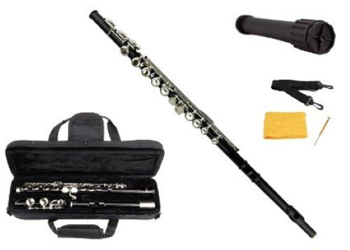 Merano Black / Silver Flute with Carrying Case+Black Stand+Clean Rod