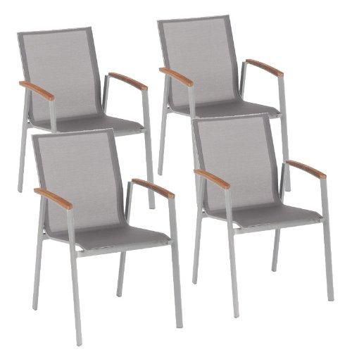 4 Stück Stapelsessel Top, Gestell graphit, Bezug silber-grau, Teakarmlehnen