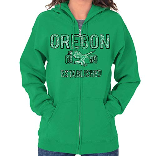 Oregon Vintage Student Workout OR Americana Zip Hoodie Irish Green