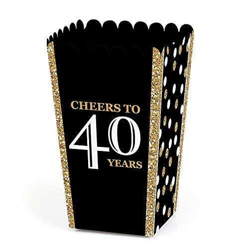 (Adult 40th Birthday - Gold - Birthday Party Favor Popcorn Treat Boxes - Set of 12)