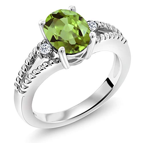 2.05 Ct Oval Green Peridot White Topaz 925 Sterling Silver Ring (Size 8)