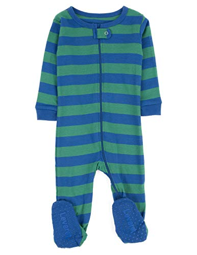 (Leveret Kids Striped Baby Boys Footed Pajamas Sleeper 100% Cotton (Size 12-18 Months, Blue &)