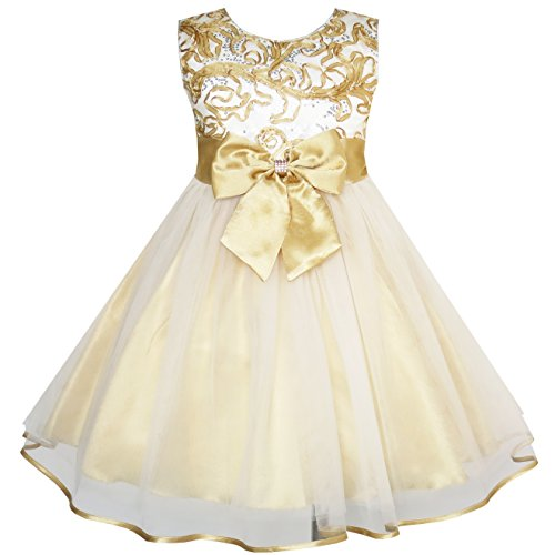 JY65 Flower Girls Dress Bow Tie Champagne Wedding Pageant Size 9-10 (Christmas Pageant Dresses)