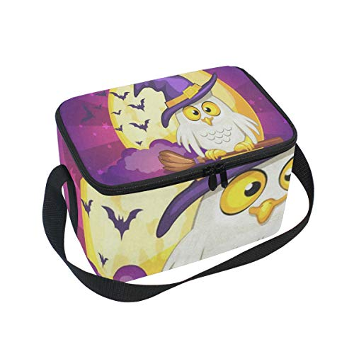 Lunch Bag Halloween Owl And Moon Womens Insulated Lunch Tote Zipper Kids Lunch Box]()