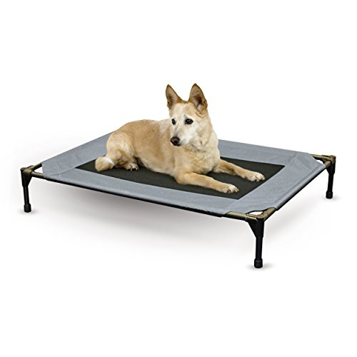 K&H Pet Products Original Pet Cot Elevated Pet Bed, Gray/Mesh, Large ()