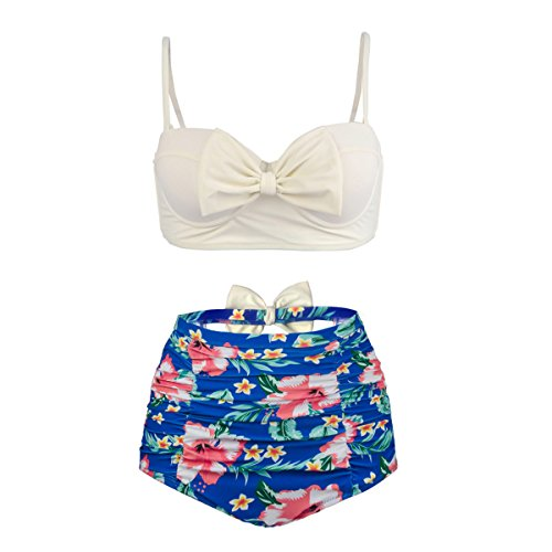 BuyBai Vintage Bow Women's Bikini Set Bathing Suit Floral Printed Strappy High Waist Swimsuit (M, White Top With Blue Bottom) (Up Swimsuit Pin)