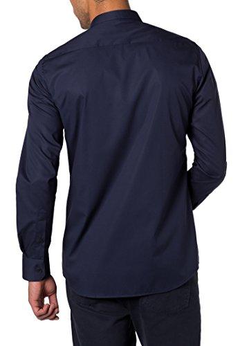 Eterna Slim Fit Langarm Uni Mit Mini Button-Down-Kragen, Camisa para Hombre Azul (Marine 19)