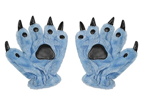 Adult Teens Halloween Cosplay Gloves Winter Warm Plush Animal Costume Dinasour Bear Panda Cat Paw Claw Hand Gloves Fancy Party Props Gift (Blue)