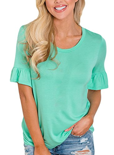 Eytino Women Tops Ruffle Short Sleeve Round Neck Loose Tunic Shirt Blouse Tops,Small -
