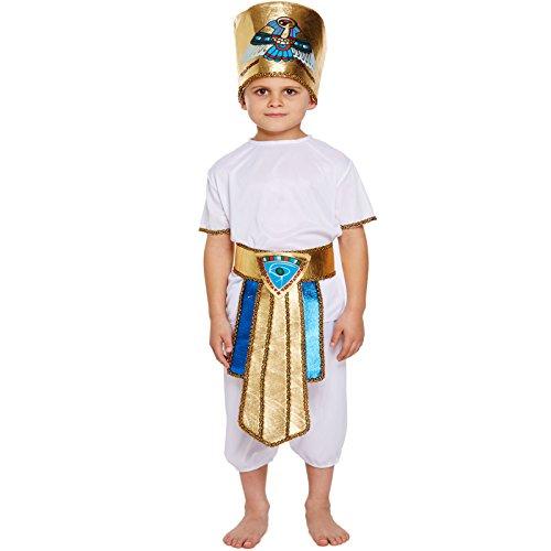 Egyptian Tutankhamun Pharaoh King Hat Kids Childrens Boys Fancy Dress Costume Halloween Book Week Outfit (7-9 (Book Week Costumes For Boys)