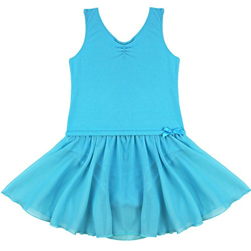 FEESHOW Girls' Gymnastic Leotard Dress Camisole Ballet Dance Ruffle Tutu Skirt Tank Blue 5-6
