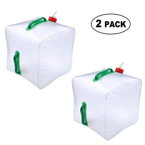 ([2 Pack] Collapsible Water Container - 5 Gallon/20L Portable Cube Water Bag - Food Grade PVC Outdoor Water Storage for Camping Hiking Climbing)