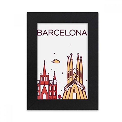 DIYthinker Barcelona Spain Flat Landmark Pattern Desktop Photo Frame Picture Black Art Painting 5x7 inch by DIYthinker