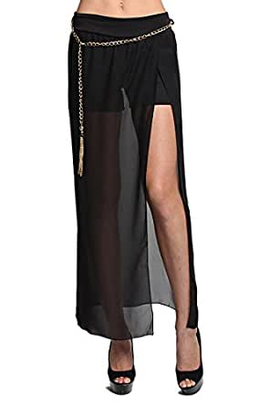 TheMogan Women's Shorts Inset CHIFFON LONG MAXI SKIRT w Belt-Black S