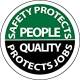 NMC HH80 2'' x 2'' PS Vinyl Hard Hat Emblem w/Legend: ''Safety Protects People Quality Protects Jobs'', 12 Packs of 25 pcs