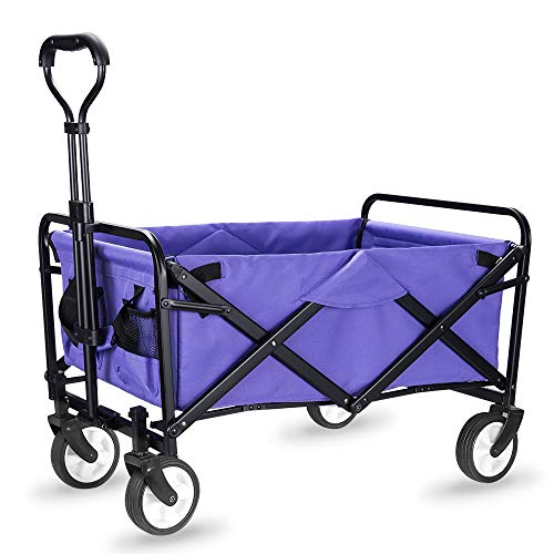 "WHITSUNDAY Collapsible Folding Garden Outdoor Park Utility Wagon Picnic Camping Cart with Replaceable Cover (Compact Size 5"" Wheels, Purple)"