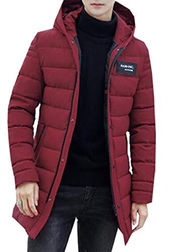 Vento A Cappotto Leggero Rosso Piumino Classico Cappuccio Cotone Uomini Outwear Degli Puffer Ttyllmao Con Giacca Inverno Vino Caldo qawETUw