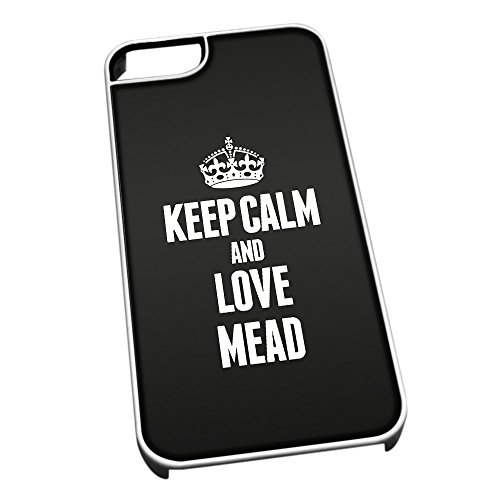 Bianco cover per iPhone 5/5S 1267 nero Keep Calm and Love Mead