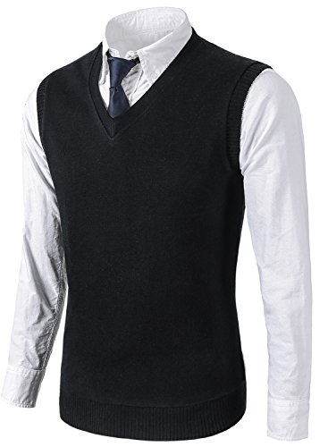 MIEDEON Mens Various Color Casual Slim Fit Knit Vest sweater,Medium,Black by MIEDEON