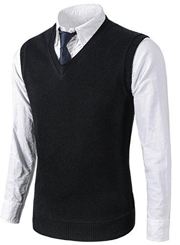Black Sweater Vest - MIEDEON Mens Various Color Casual Slim Fit Knit Vest sweater,Medium,Black