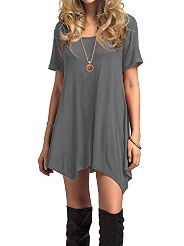 Century Star Womens Short Sleeve T-Shirt Dress Casual Loose Fit Tunic Dress Cute Swing T-Shirt Dress For Women Grey X-Large(US 16-18) - Maternity Tunic Dress