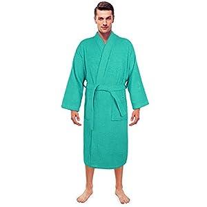 Turkuoise Men's Terry Cloth Robe Turkish Cotton Terry Kimono Collar
