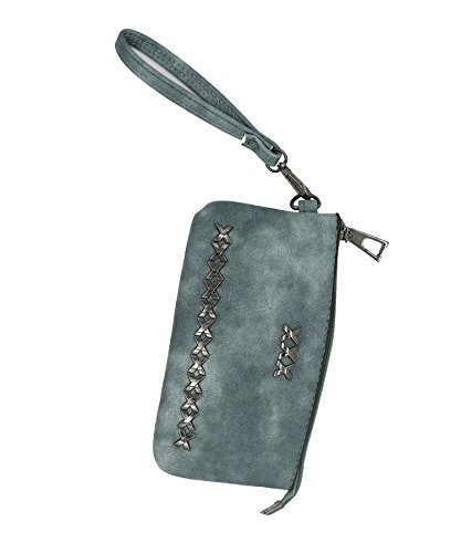 Coin Studded (LefRight Rivet Studded PU Leather Hand Pouch Purse Wallet Wrist Coin Bag Blue)