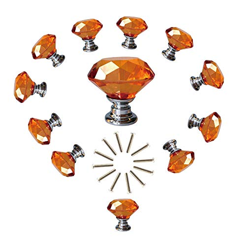 - ANJUU 12 Pcs 30mm Diamond Shape Crystal Glass Cabinet Knobs with Screws Drawer Knob Pull Handle Used for Kitchen, Dresser, Door, Cupboard (Amber)