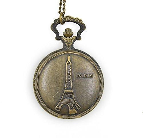 CHOP MALL® Metal Vintage Bronze Paris Eiffel Tower Pendant Necklace Watch