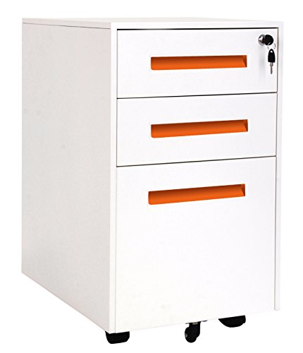 Merax 3-Drawer Mobile File Cabinet with Keys, Fully Assembled Except Casters (White&Orange)