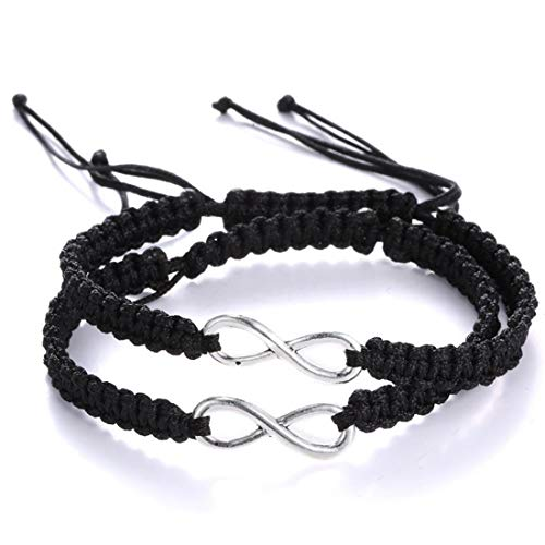 2Pcs Infinity Distance Couple Braided Handcrafted Luck Bracelet Bangle Adjustable Rope His and Hers Wristband Wrist Jewelry-Double Black