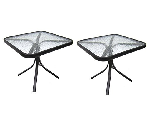 Mainstays Square Outdoor Glass Top Side Table (2 Set)
