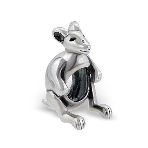 Silvadore Argent-Kangourou Animal ponçage Smile Face Design 3D 925 Sterling-Toboggan à 460–Pandora Bracelet européenne Coffret cadeau inclus