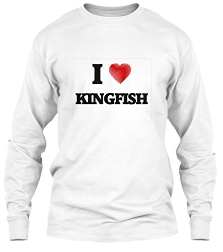Kingfish Long Sleeve - I Love Kingfish Long Sleeve Tshirt - L - White - Gildan 6.1oz Long Sleeve Tee