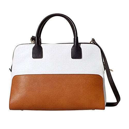 Your Gallery Black And Brown Colorblock Faux Leather Bowling Style Tote With Shoulder Strap