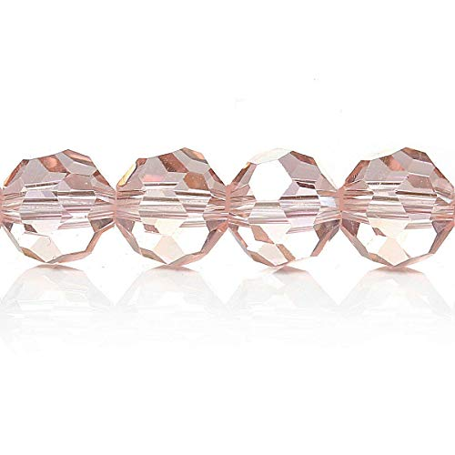 25 Crystal Beads 6mm Baby Pink Faceted Glass Beads (1/4