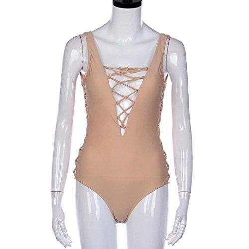 Transer® Traje de baño de una pieza Traje de baño de traje de baño Push Up Bikini Beige