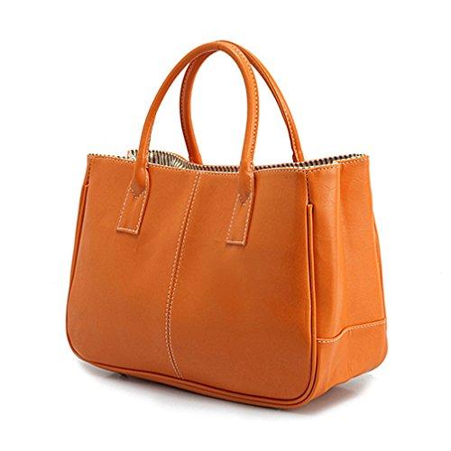 Orange Leather Handbag - 4