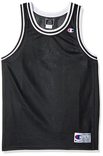 (Champion LIFE Men's City Mesh Jersey, Black/Champion USA, L)