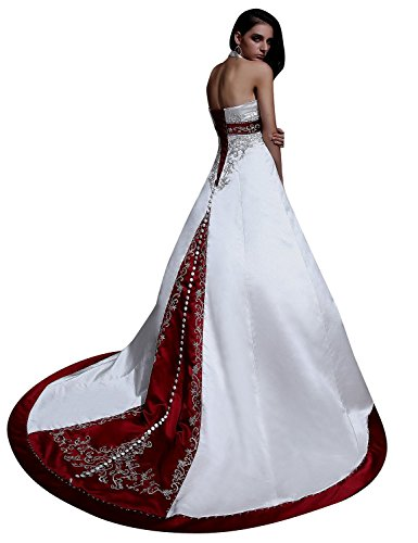 FashionStreets Halter Embroidery Beads A Line Corset Back Long Wedding Dress (US 14, Ivory & Dark Red)