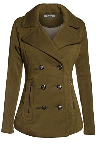 BodiLove Women's Stylish and Warm Peacoat with Sherpa Lining