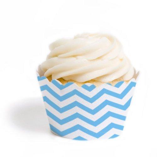 Dress My Cupcake Standard Cupcake Wrappers, Chevron, Sky Blue, Set of 50 (Sky Blue Cupcake Liners)