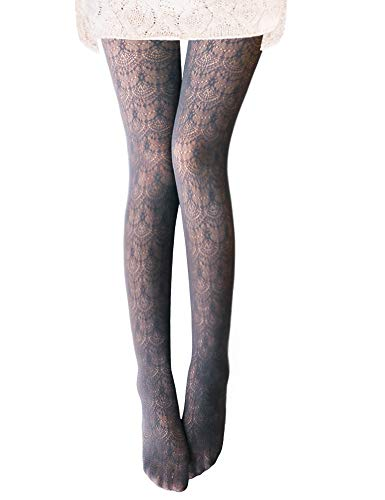 Vero Monte 1 Pair Women's Hollow Out Knitted Patterned Tights (Grey) -